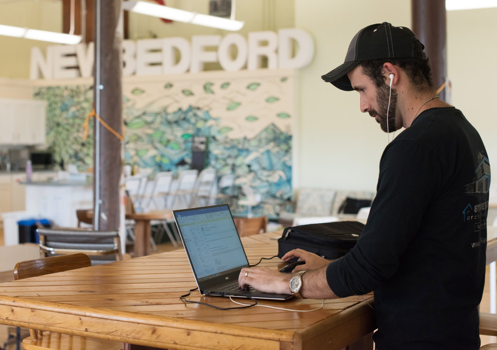 Man working at his laptop in New Bedford