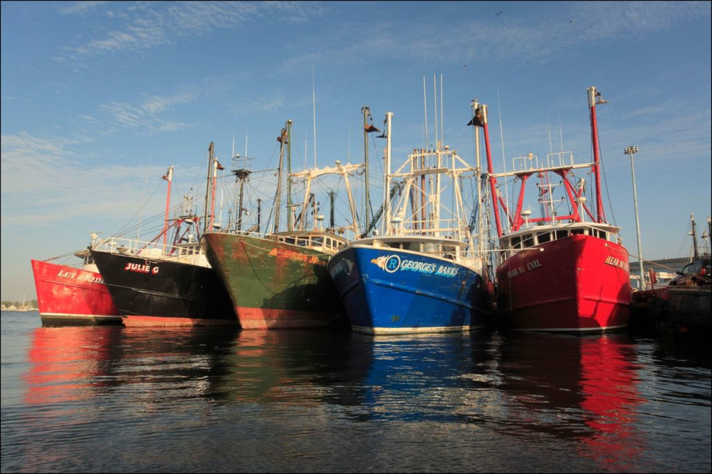 Five boats in harbor