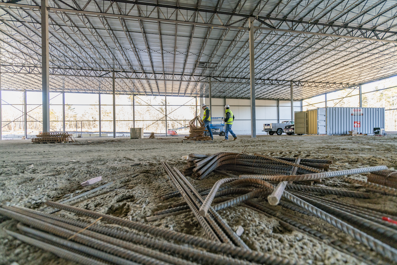 Inside of a warehouse under construction